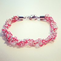 Elena Hall Jewellery crocheted silver neon bracelet